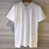 Футболка с круглым вырезом и бриллиантами, лето 2019, новейшие дизайнерские Брендовые женские футболки, модная женская футболка с пайетками