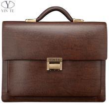 YINTE Leather Men's Briefcase Brown Bag Lawyer Business Briefcase Men's Handbag Messenger Attache Case Totes Portfolio T8277-3