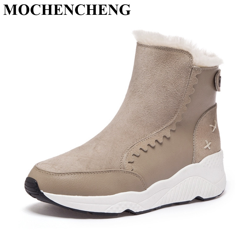 ... Genuine Leather Shoes Women Snow Boots with Fur Warm Fleeces Slip-on  Flat Platform Ankle Boot Soft Solid Fashion Casual Footwear 3d3f01f04946