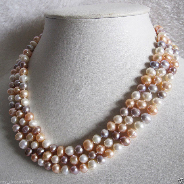100% Selling Picture full Genuine 3 Rows Natural White Pink Purple Freshwater Pearl Necklace