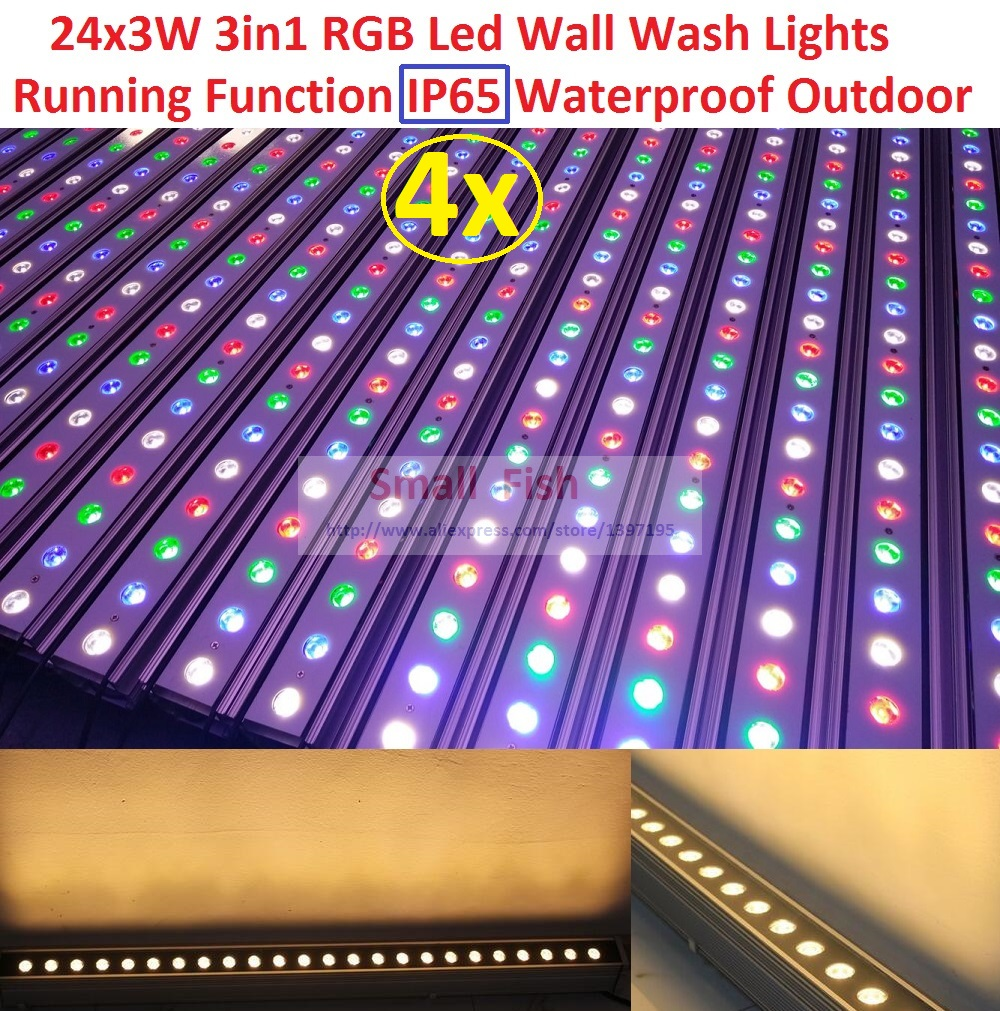 4xLot 2017 Waterproof Led Wall Washer Lights IP65 Dmx Line Bar Led Wall Wash Stage Light for Dj Disco Party Effect Outdoor Using transctego led stage lamp laser light dmx 24w 14 modes 8 colors disco lights dj bar lamp sound control music stage lamps