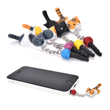 Super Cute Dust Plug Lucky Cat Playing Ball 3.5mm Anti Dust Earphone Jack Plug Stopper Cap For Phone