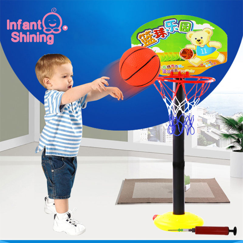 Infant Shining Children Basketball Stand Toy Baby Sports Toys Exercise Portable Plastic For 3-6 Years Old