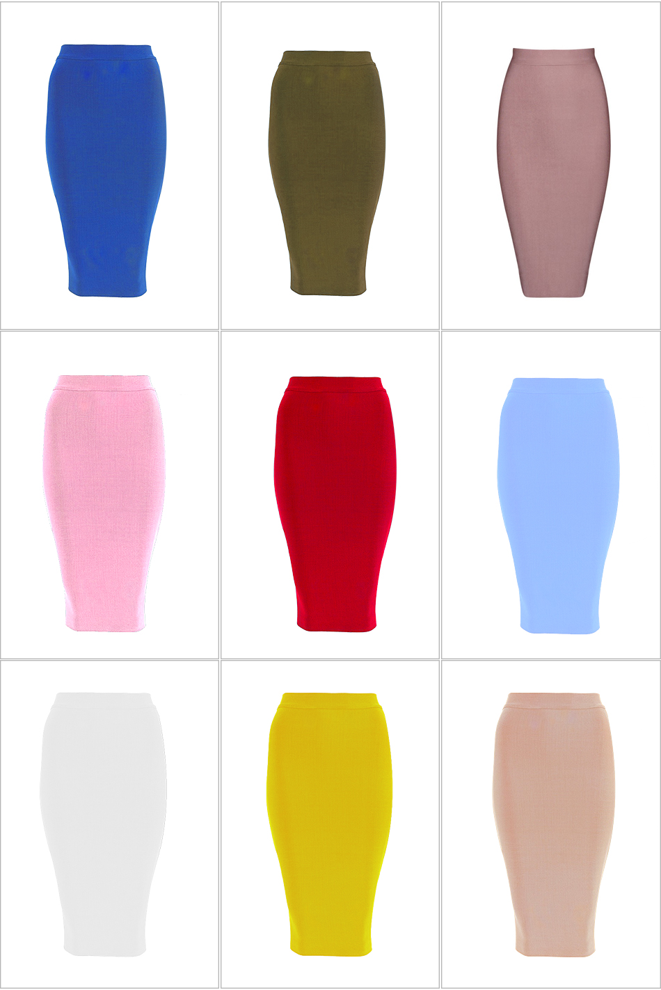 Elegant Knee-length Bandage Bodycon Skirt