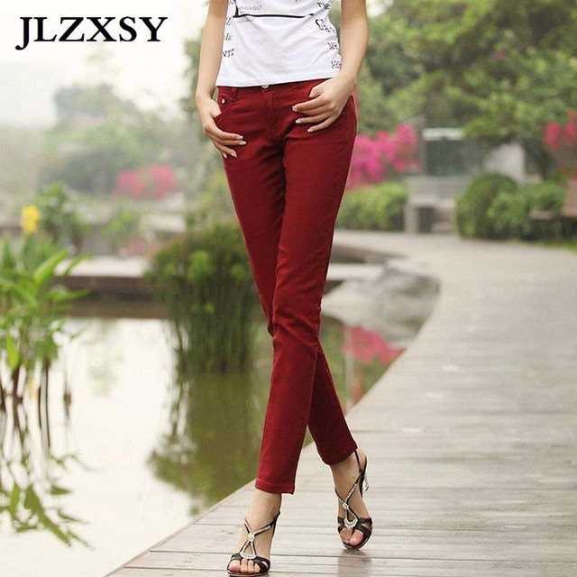 Women Stretch Candy Pencil Pants Casual Skinny Slim Jeans Trousers No Fade Retail & Wholesale Free Shipping Various Colors