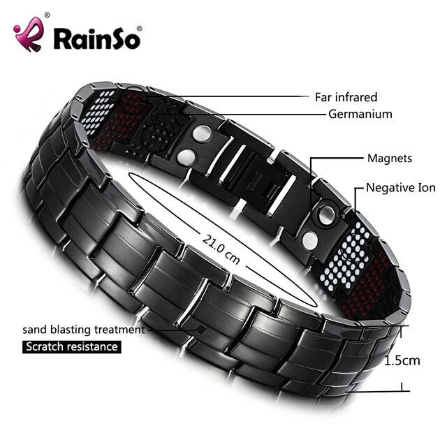 RainSo мужской браслет здоровья германий браслет Шарм черный Титан магнитотерапия браслеты уникальный браслет Для мужчин Jewelry 1316