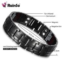 RainSo ชายสร้อยข้อมือสุขภาพ Germanium สร้อยข้อมือ Charm Black TITANIUM Magnetic Therapy กำไลข้อมือที่ไม่ซ้ำกันสายรัดข้อมือผู้ชายเครื่องประดับ 2020
