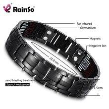 RainSo Male Bracelet Health Germanium Bracelet Charm Black Titanium Magnetic Therapy Bangles Unique Wristband Men Jewelry 2020