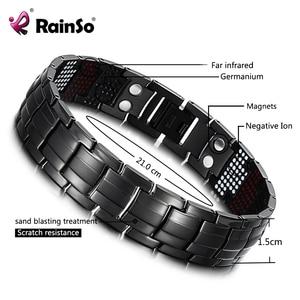 Image 1 - RainSo Male Bracelet Health Germanium Bracelet Charm Black Titanium Magnetic Therapy Bangles Unique Wristband Men Jewelry 2020