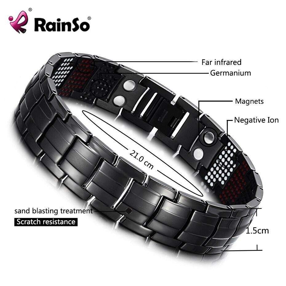 RainSo pulsera masculina salud germanio pulsera encanto negro titanio terapia magnética brazaletes únicos pulsera hombres joyería 1316
