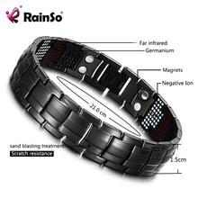 RainSo الذكور سوار الصحة سوار جرمانيوم سحر الأسود التيتانيوم العلاج المغناطيسي أساور فريد معصمه الرجال المجوهرات 2020