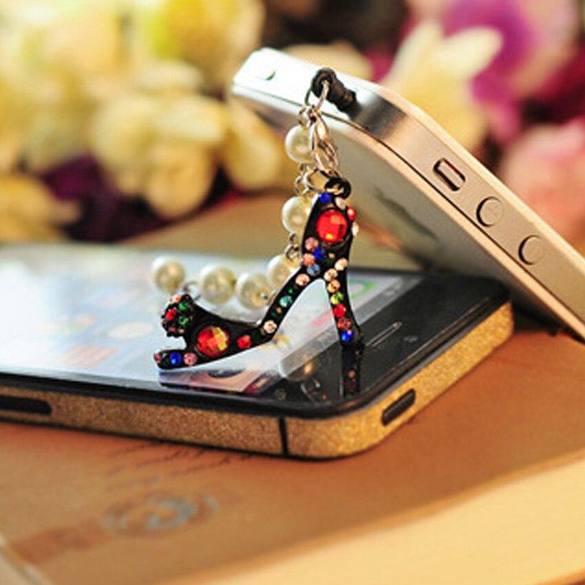 Fashion Diamond High heels Anti Dust Plug For Phone Accessories
