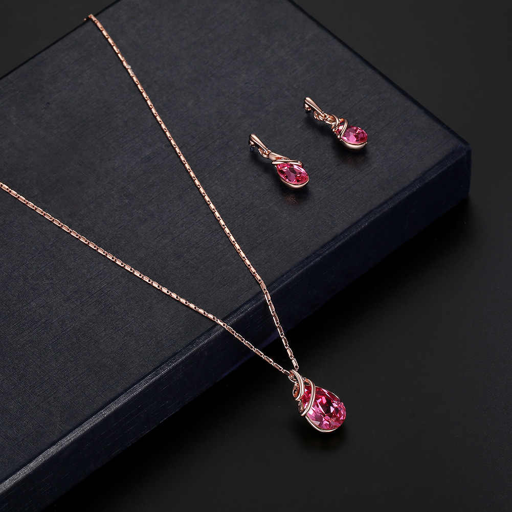 New fashion Women's Gold Color Geometric Link Zinc Alloy Necklace Earring Charm Jewelry Set brinco noiva aretes Bride
