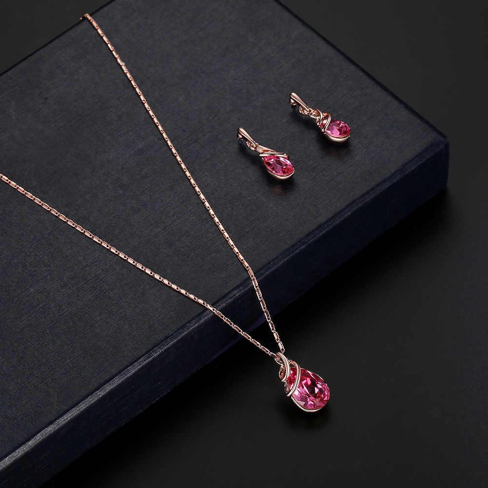 New fashion Women's Gold Color Geometric Link Zinc Alloy Necklace Earring Charm Jewelry Set brinco noiva aretes Bride