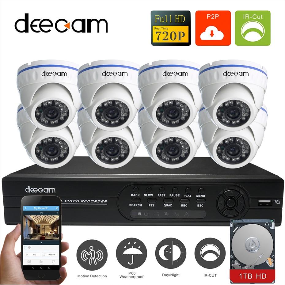 Deecam 8CH CCTV System Video Surveillance Security 720P AHD CCTV DVR  HD 8PCS CCTV Camera 1.0 Megapixels IR Outdoor Dome 1TB HDD hd 8ch cctv system 720p dvr 8pcs 720p 1200tvl ir outdoor video surveillance security camera system 8 channel dvr kit