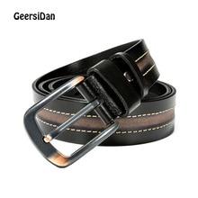 лучшая цена GEERSIDAN 2019 cowhide genuine leather belt for men New male luxury Brand designer vintage jeans pin buckle belt for men strap