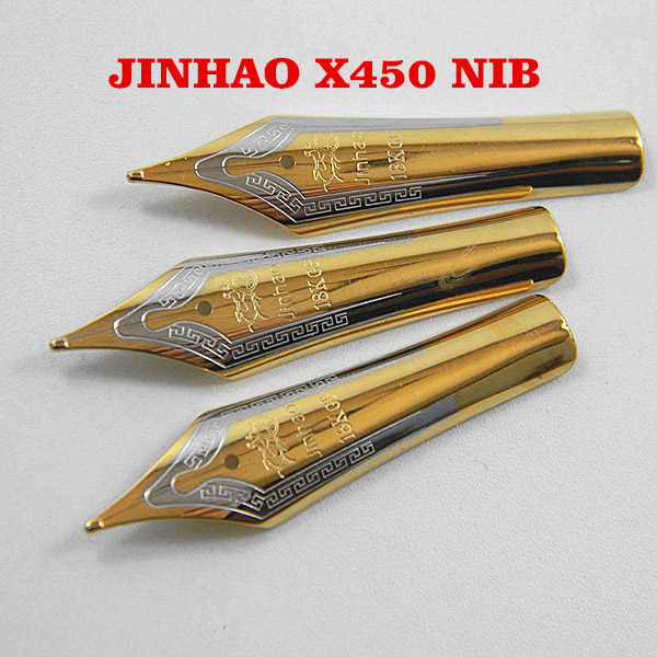 2PCS JINHAO X450 159 750 Golden Medium Pen Nib Refill DIY