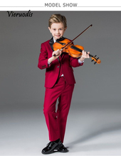 New Rose Red Performance Concert Costume Wedding Suits For Kids Best Man Tuxedos 3 piece set