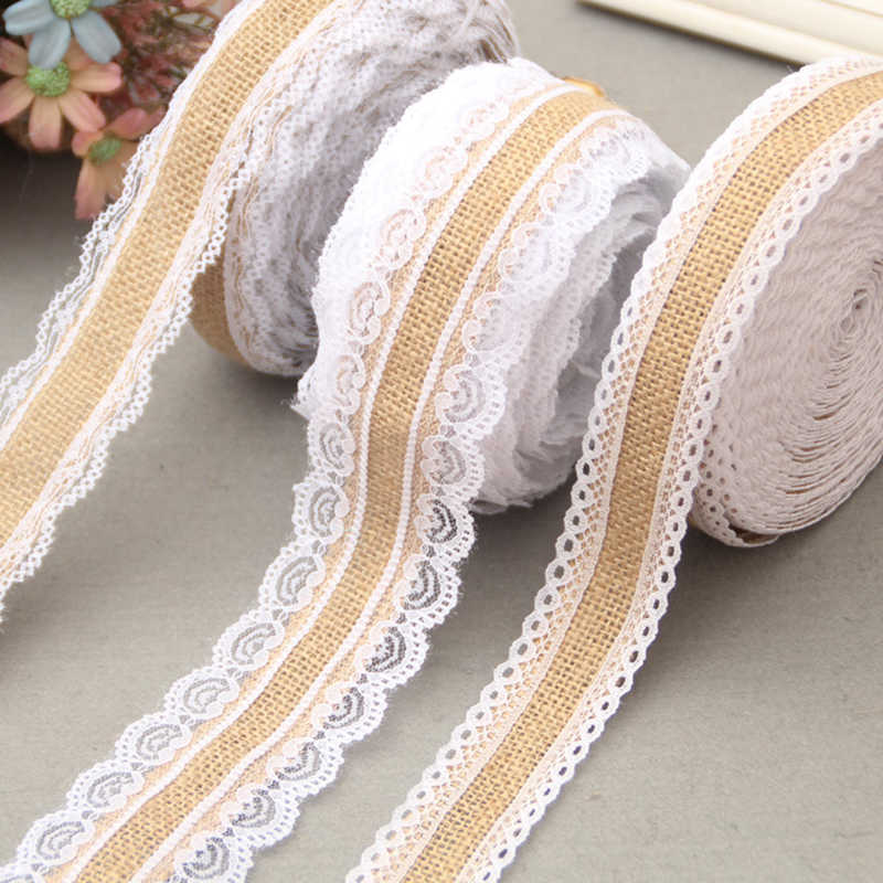 1m 2m Natural Jute Burlap Hessian Lace Ribbon Roll White Lace Vintage Wedding Decoration Party Christmas Crafts Decorative