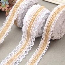 2 metre doğal jüt çuval bezi çuval bezi dantel şerit rulo beyaz dantel Vintage düğün dekorasyon parti noel el sanatları dekoratif