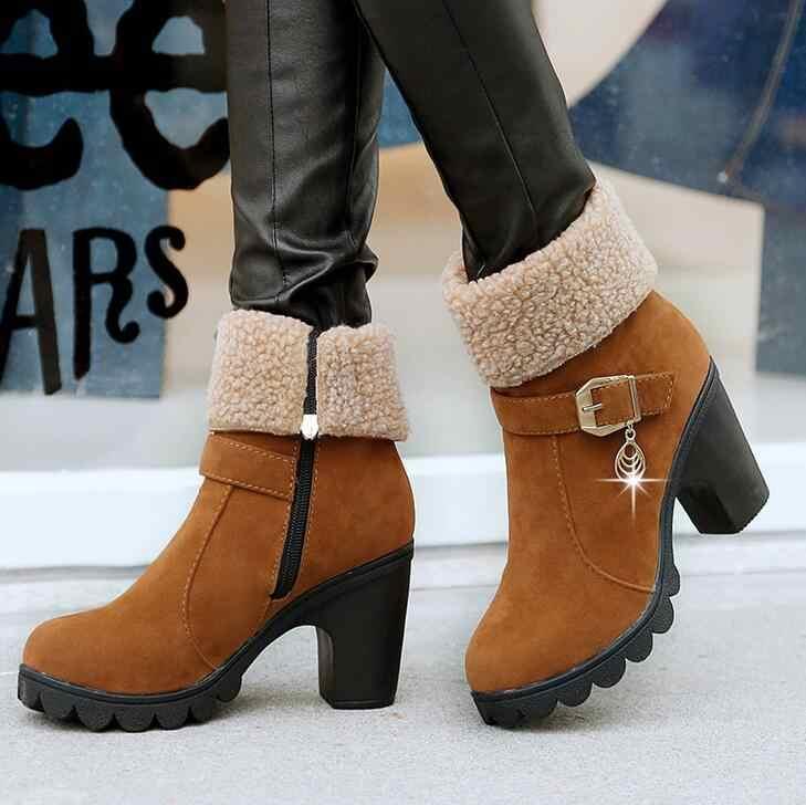 2019 Yeni Sonbahar Kış Kadın Çizmeler Yüksek Kaliteli Katı dantel-up Avrupa Bayan ayakkabıları Deri Moda Çizmeler