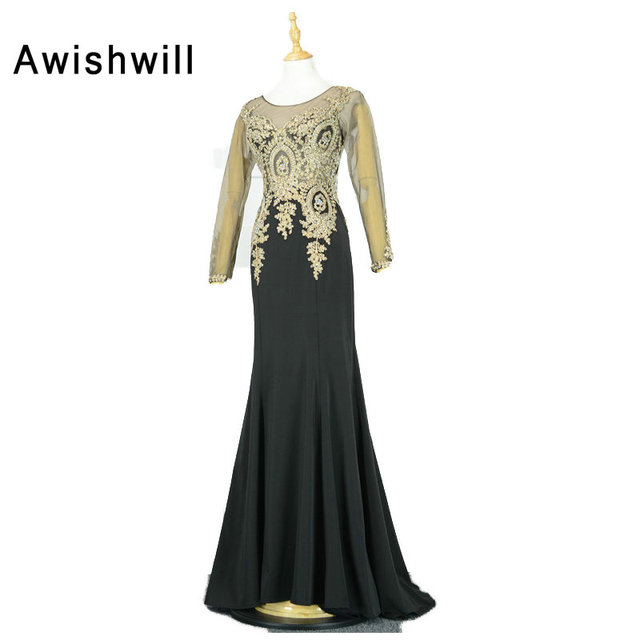 acdd902fe Vestidos de Festa Vestido Longo Para Casamento Long Sleeve Evening Gowns  Gold Lace Applique Chiffon Mermaid