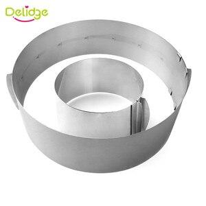 Image 4 - Delidge 2 sztuk/zestaw ze stali nierdzewnej regulowane ciasto z musem pierścień 3D okrągła i kwadratowa forma do ciasta ciasto foremki na ciastka