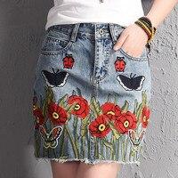 HAMALIEL Runway Sexy Women Vintage Short Jean Skirt 2017 Fashion High Waist Butterfly Flower Embroidery Denim