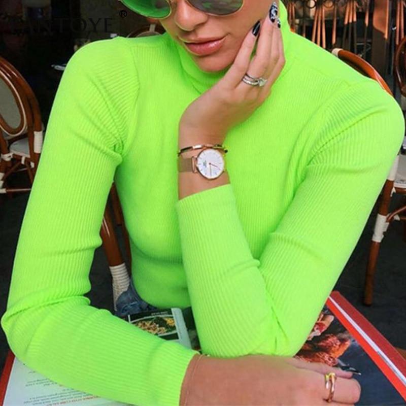 Fantoye Fluorescent Green Turtuleneck Knitted Sweater Women Autumn Winter Casual Long Sleeve Ribbed Sweater Streetwear Pullovers Футболка