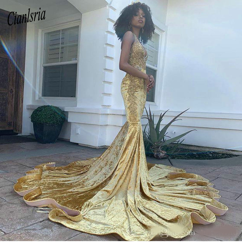 Sexy Deep V Neck Mermaid   Prom     Dresses   Reflective Fashion South African Lace Appliques Evening Party Gowns Long Sweep Train