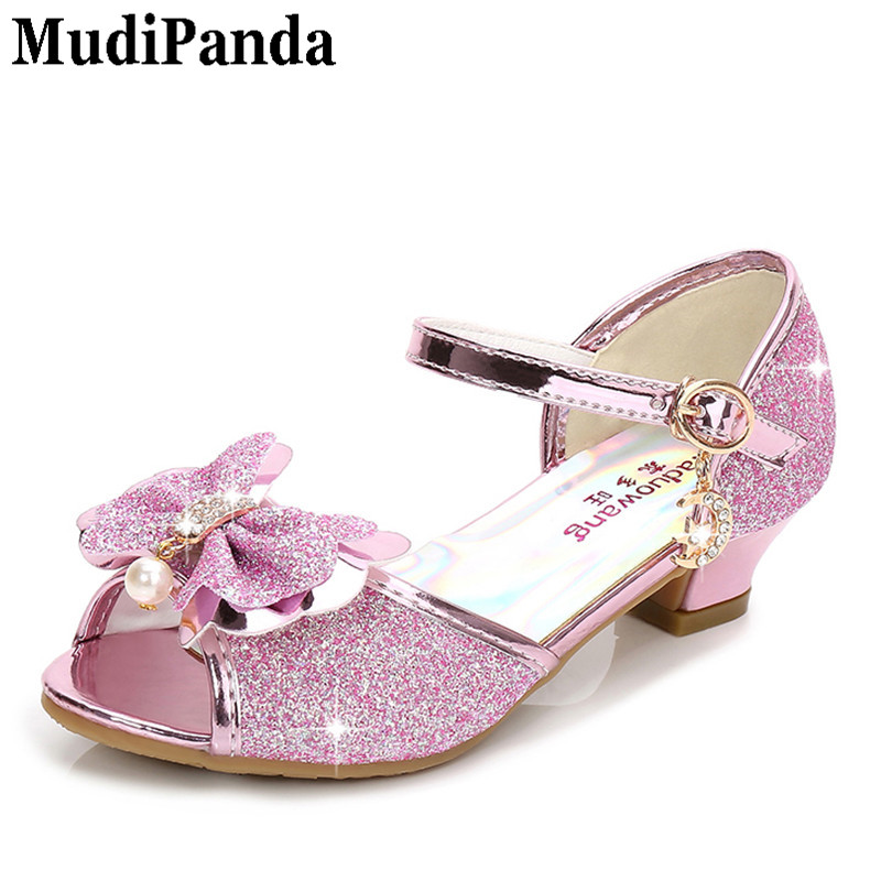 MudiPanda Purple sandals for girl summer high heels gilr childrens blue pink shoes sandals Princess cute fashion bow student
