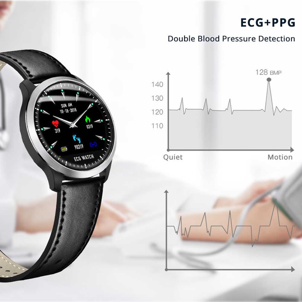 Reloj inteligente Makibes BR4 ECG PPG para hombre con pantalla de electrocardiograma Frecuencia Cardíaca presión arterial banda inteligente rastreador de Fitness nuevo reloj inteligente hombre mujer 2019