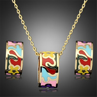 11 Styles Gold Plated Unique Luxury Enamel Jewelry Sets Round Stainless Steel Ceramic Pendant Necklace Earrings