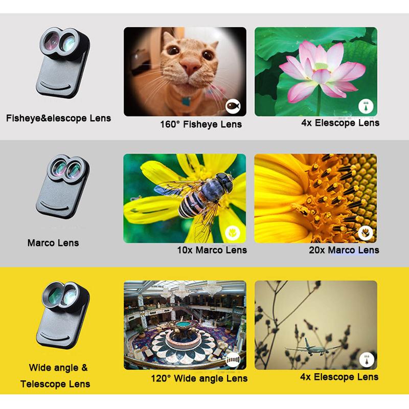 17 New For iPhone 7 Plus 7Plus Dual Phone Camera Lens Fisheye Wide Angle Macro Telescope Camera Phone Lens with Phone Case 6