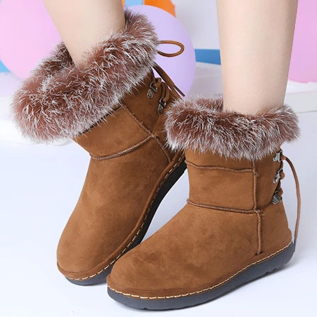 ФОТО 2016 plus size brand women's fashion flats lace up snow boots rabbit hair woman shoes for winter warm boots drop shipping