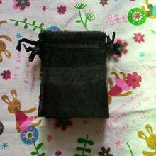 סיטונאי 1000 יח\חבילה אורגנזה שרוך שקיות 9x12 10x15 cm שחור תכשיטי מתנת שקיות מתנה לחתונה אריזה שקיות & שקיות