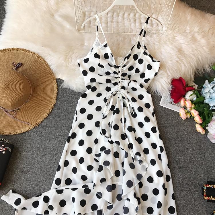 Women Beach Red Dress 2019 Summer New Seaside Holiday Sleeveless Dot Print Casual Vestidos E496 20