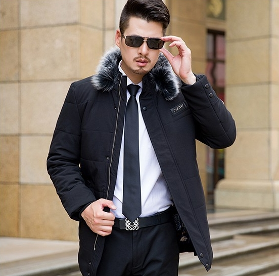 Men Cotton Down Parka Coat With Hat Detachable Long Style Thick Fashion Jacket Male Hooded Winter