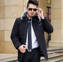 Men Cotton Down Parka Coat With Hat Detachable Long Style Thick Fashion Jacket Male Hooded Winter Loose Big Size L-6XL Black K96