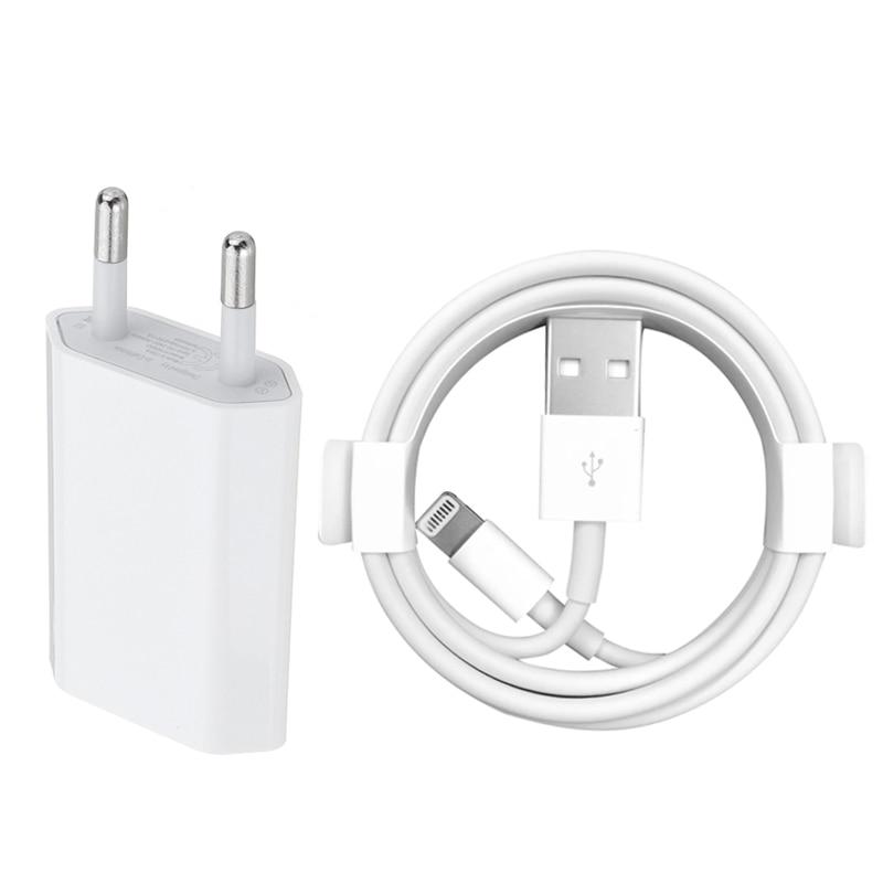 Kit EU Chargeur Mural + Câble De Chargement USB pour iPhone 6 6 S 7 8 Plus X XS MAX XR 1 m USB Câble de Données pour iPhone 5 5 S Adaptateur de Charge