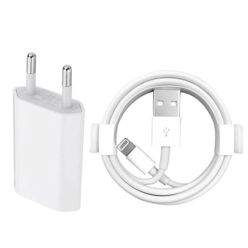 Kit EU Wall Charger + <font><b>USB</b></font> Charging <font><b>Cable</b></font> for <font><b>iPhone</b></font> <font><b>6</b></font> 6S 7 8 Plus X XS MAX XR 1m <font><b>USB</b></font> Data <font><b>Cables</b></font> for <font><b>iPhone</b></font> 5 5S Charge Adapter image