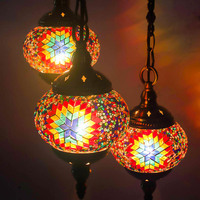 Artpad 3 Head Mediterranean Turkish Hanging Lamp Handmade Stained Glass Lampshade Vintage Pendant Lights for Interior Lighting