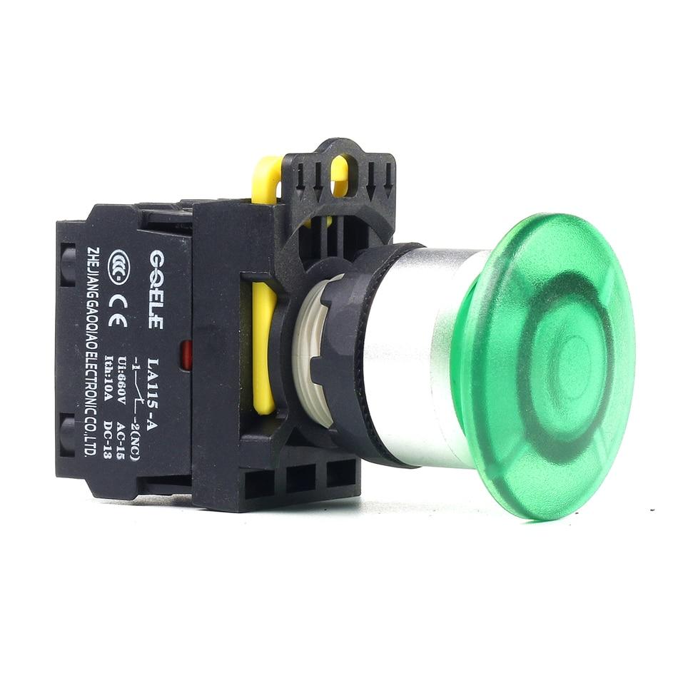 5 PCS Push button switch Mushroom button LED Latching IP65 1NO 1NC 1NO+1NC 2NO 2NC LA115-A2-11MD-R31 15a 250vac v 15 1c25 push button spdt 1no 1nc micro switch 10pcs