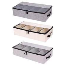 Foldable Compartment Shoe Box Storage Bag Thick Fabric Transparent Dust-proof Bed Bottom Shoe Storage Box(China)
