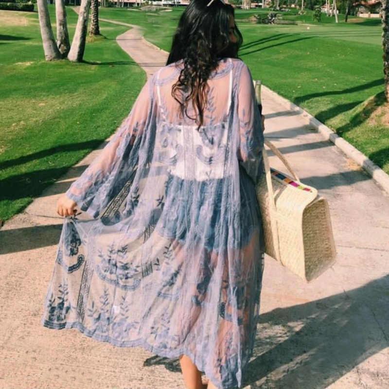 Spicylace женский Высококачественный кружевной кардиган с цветочным принтом пляжный костюм с длинным рукавом открытый кимоно кардиган Длинные Блузки, топики