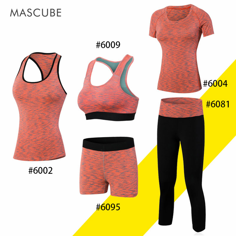 MASCUBE 2017 Women Yoga Set Bra T-shirt Vest Shorts Legging Exercise Tights Quick Dry Br ...