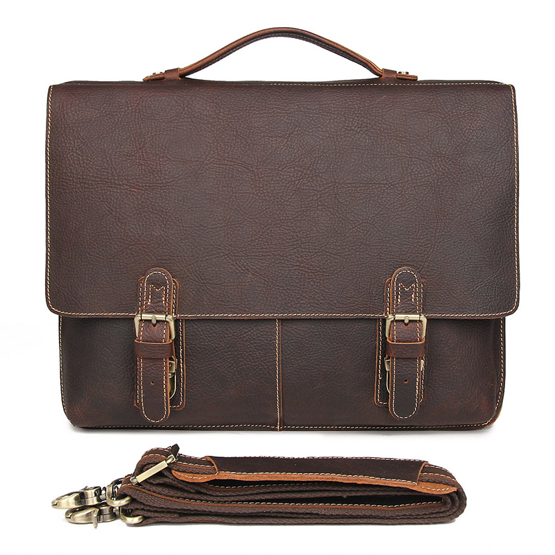 Genuine Cow Leather Men's Briefcase Handbag 17 Inch Laptop Bag Messenger Men 7090LR