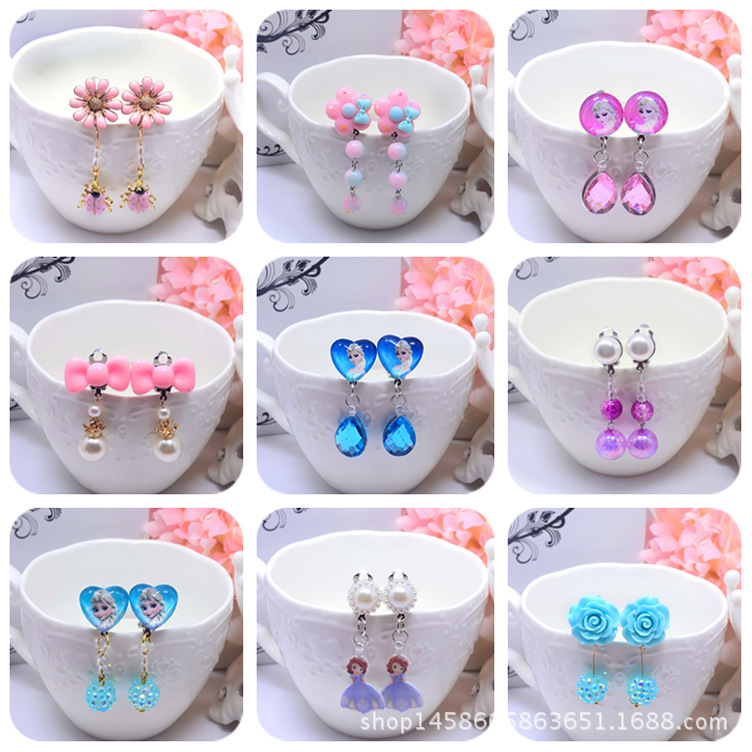Fashion Children Headwear Hello Kitty Ear-rings Ear Clip Hair Accessories Pearl Headwears Gifts For Cute Baby 13pcs children printing hair rings