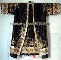 Frete Grátis! Preto das Mulheres Chinesas de Seda Hand-Made Pintado Kaftan Robe Vestido Com Cinto Tamanho Livre 3 cores WR007