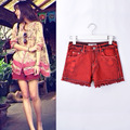 TIC-TEC women cotton red hole tassel Vintage Frayed denim red shorts Hot P2765